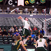 1st year outside hitter Marcus Roflik (10) of the Regina Cougars in action during the Women's Volleyball Home Game vs U of C Dinos on October21 at the CKHS University of Regina. Credit Arthur Ward/©Arthur Images 2017