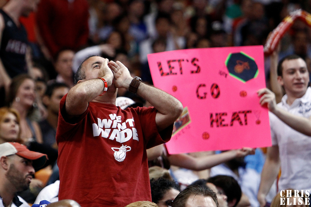 21 January 2012: A fan shouts during the Miami Heat 113-92 victory over the Philadelphia Sixers at the AmericanAirlines Arena, Miami, Florida, USA.