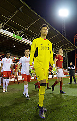 NOTTINGHAM, ENGLAND - Thursday, February 4, 2016: Liverpool's goalkeeper Shamal George walks out to face Nottingham Forest during the FA Youth Cup 5th Round match at the City Ground. (Pic by David Rawcliffe/Propaganda)