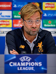 LIVERPOOL, ENGLAND - Tuesday, September 12, 2017: Liverpool's manager Jürgen Klopp during a press conference at Anfield ahead of the UEFA Champions League Group E match against Sevilla FC. (Pic by David Rawcliffe/Propaganda)