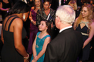 Audra McDonald (left) meets with Zoe Singleton, 10 during the VIP reception following the 10th Anniversary Concert at the Schuster Center in downtown Dayton, Friday, March 1, 2013.  Singleton has a role in the video they showed before the concert began.