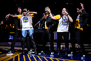 June 3, 2018; Oakland, CA, USA; Recording artist Salt and Peppa perform during halftime in game two of the 2018 NBA Finals between the Golden State Warriors and the Cleveland Cavaliers at Oracle Arena.
