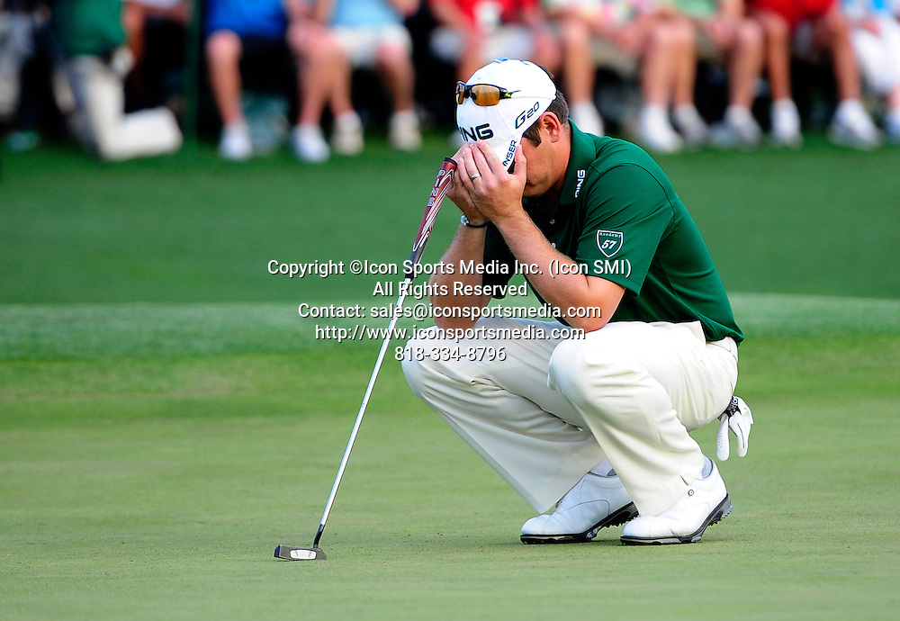 April 8, 2012 - Augusta, Georgia, U.S. - Louis Oosthuizen reacts to a putt on No. 18 during the final round of the 2012 Masters Tournament at Augusta National Golf Club on Sunday April 8, 2012, in Augusta, Ga.