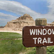 Window Trail in the Badlands National Park in southwestern South Dakota protects 242,756 acres of sharply eroded buttes, pinnacles, and spires. The park protects an expanse of mixed-grass prairie where bison, bighorn sheep, ( Ovis canadensis ) and prairie dogs live today.  Photography by Jose More