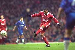 LIVERPOOL, ENGLAND - Saturday, January 6, 1996: Liverpool's captain John Barnes in action against Rochdale during the FA Cup 3rd Round match at Anfield. (Photo by David Rawcliffe/Propaganda)