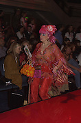 Zandra Rhodes. Julian Macdonald  fashion show, Le Meridien Grosvenor House. After party, Il Bottaccio, Grosvenor Place. London. 14 September 2002. © Copyright Photograph by Dafydd Jones 66 Stockwell Park Rd. London SW9 0DA Tel 020 7733 0108 www.dafjones.com