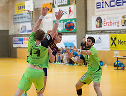 09.12.2014, Sporthalle, Leoben, AUT, OeHB-Cup Achtelfinale, Union JURI Leoben vs SG INSIGNIS Handball West Wien, im Bild Fabian Posch (West Wien), Sebastian Spendier (Leoben), Markus Wagesreiter (West Wien) // durning the OeHB-Cup, Round of the last sixteen, between, Union JURI Leoben vs SG INSIGNIS Handball West Wien at the Sport Hall, Leoben, Austria on 2014/12/09, EXPA Pictures © 2014, PhotoCredit: EXPA/ Dominik Angerer