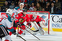 KELOWNA, CANADA - APRIL 7: Cole Kehler #31 defends the net as Keoni Texeira #44 of the Portland Winterhawks blocks the pass to Calvin Thurkauf #27 of the Kelowna Rockets on April 7, 2017 at Prospera Place in Kelowna, British Columbia, Canada.  (Photo by Marissa Baecker/Shoot the Breeze)  *** Local Caption ***