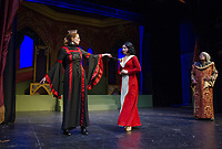 Ursula Minich Boutwell as Queen Belladonna, Kelley Davies as Snow White and Ken Chapman as King Stanley go through tech/dress rehearsal for Winnipesaukee Playhouse traditional english panto of Snow White on Tuesday afternoon.  (Karen Bobotas/for the Laconia Daily Sun)