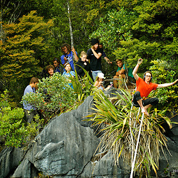 James Clulow on his first steps on the magnificent Harwoods hole highline.  New Zealand.