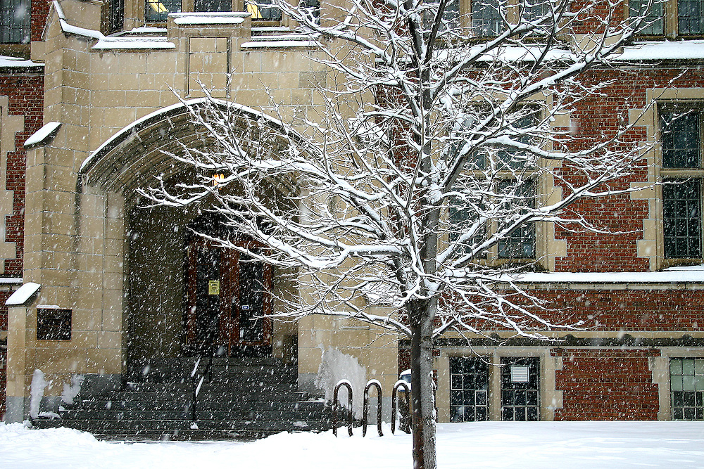 New snow falls on University of Regina, College Avenue Campus, Regina