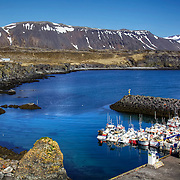Arnarstapi is a beautiful fishing hamlet on the southern side of Iceland's Snæfellsnes Peninsula. Deep blue waters, columnar basalt, ravines and grottoes surround the small pier. The cliffs along the coastline are occupied by a myriad of seabirds who nest in the area.