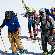 The group skinning out of camp on their first backcountry mission in Glacier National Park.