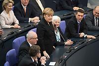 17 DEC 2013, BERLIN/GERMANY:<br /> Volker Kauder (Mi-L), CDU, CDU/CSU Fraktionsvorsitzender, Angela Merkel (M), CDU, Bundeskanzlerin, Gerda Hasselfeldt (Mi-R), CSU, Vorsitzende der bayerischen Landesgruppe, Merkel nimmt die Wahl an, 4. Sitzung des Deutschen Bundestages, Plenum, Deutscher Bundestag<br /> IMAGE: 20131217-01-027<br /> KEYWORDS: Applaus, applaudieren, klatschen