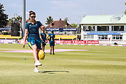Australia Women warming up with an Australian Rules Football during the Royal London Women's One Day International match between England Women Cricket and Australia at the Fischer County Ground, Grace Road, Leicester, United Kingdom on 4 July 2019.