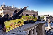 Roma 10 Dicembre 2014<br /> Mafia capitale. Manifestazione in Campidoglio della Rete per il diritto alla citt&agrave; contro la Mafia in Campidoglio, contro privatizzazioni,sgomberi,sfratti,distacchi dell'acqua e razzismo. <br /> Rome December 10, 2014<br /> Mafia capital. Demostration  in the Capitol of the Network for the right to the city, against the Mafia in the Capitol, against privatization, evictions, detachments water and racism.