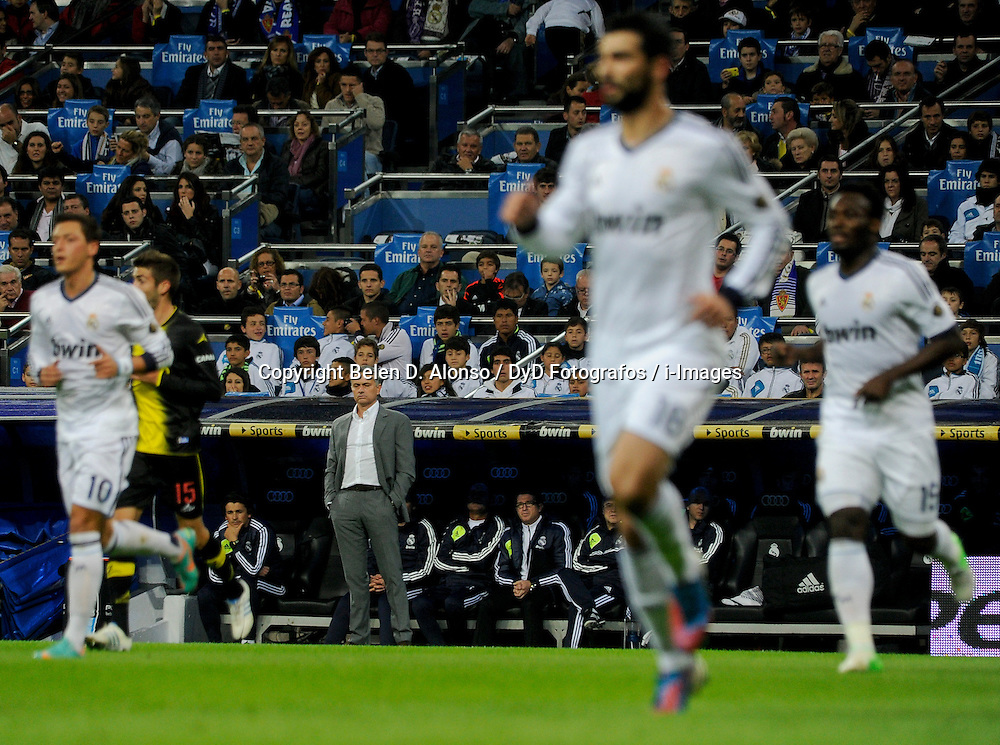 Santiago Bernabeu Stadium. Madrid. Spain. Liga BBVA. Real Madrid 4 vs Zaragoza 0. 1 ZA Roberto, RM coach Jose Mourinho, November 3, 2012. Photo by Belen D. Alonso / DyD Fotografos / i-Images...SPAIN  OUT