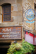 Hotel sign, Mont Saint-Michel, Normandy, France