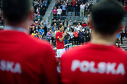 Jerzy Janowicz of Poland thanks for support after winning ball at single match during third day of the BNP Paribas Davis Cup 2013 between Poland and South Africa at MOSiR Hall in Zielona Gora on April 07, 2013...Poland, Zielona Gora, April 07, 2013..Picture also available in RAW (NEF) or TIFF format on special request...For editorial use only. Any commercial or promotional use requires permission...Photo by © Adam Nurkiewicz / Mediasport