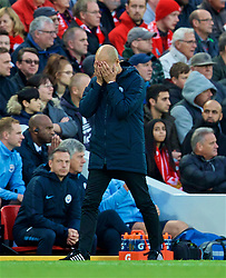 LIVERPOOL, ENGLAND - Sunday, October 7, 2018: Manchester City's manager Pep Guardiola reacts during the FA Premier League match between Liverpool FC and Manchester City FC at Anfield. (Pic by David Rawcliffe/Propaganda)