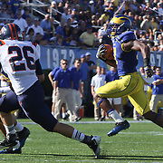 Delaware Wide receiver Michael Johnson (17) rushes for 13 yards to the bucknell 2 yd line during a Week 3 NCAA football game against Bucknell University...#13 Delaware defeated The Bison of Bucknell 19 - 3 at Delaware Stadium Saturday Sept. 15, 2012 in Newark Delaware.