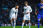 Leeds United forward Patrick Bamford (9) chats to Leeds United defender Ben White (5) during the EFL Sky Bet Championship match between Leeds United and Cardiff City at Elland Road, Leeds, England on 14 December 2019.