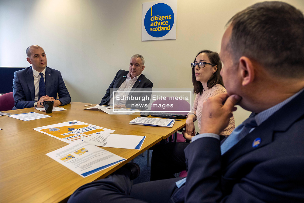 Pictured: Ben MacPherson, Derek Mitchell, CEO of CAS, Shaina Gabi, EU support adviser; David Brownlee, Head of bureau services<br />