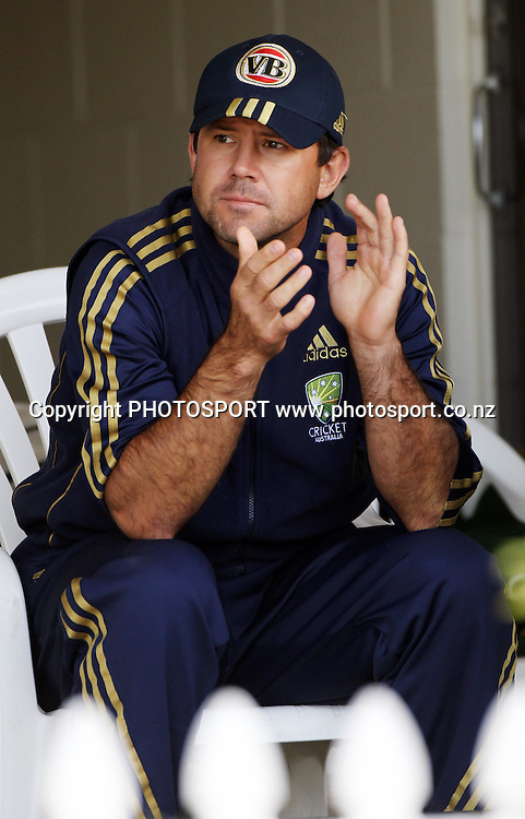 Australian captain Ricky Ponting watches the match from the pavillion.<br />