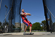 May24, 2018; Sacramento, CA, USA; Gleb Dudareve of Kansas was the top qualifier in the hammer throw at 239-9 (73.09m) during the NCAA West Preliminary at Hornet Stadium.