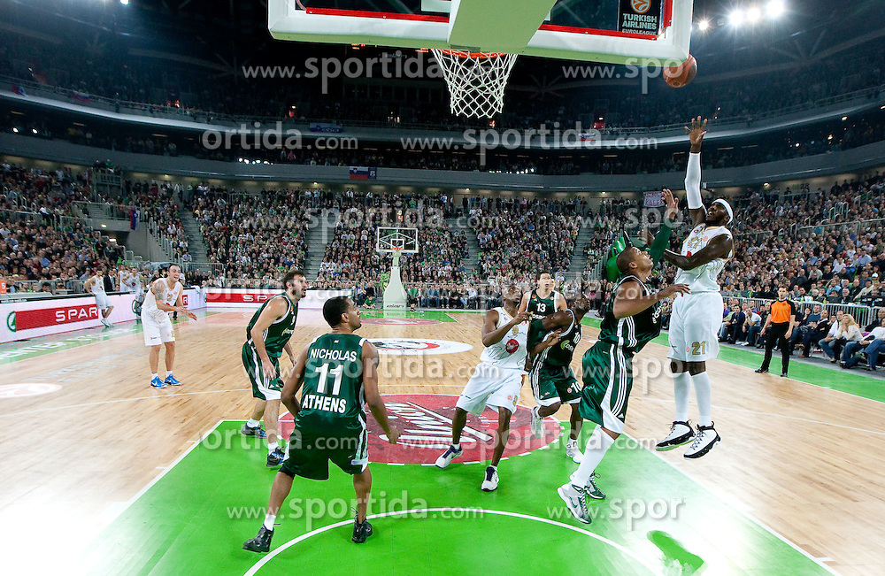 Kevinn Pinkney (21) of Olimpija  during basketball match between KK Union Olimpija (SLO) and Panathinaikos (GRE) in Group D of Turkish Airlines Euroleague, on November 4, 2010 in Arena Stozice, Ljubljana, Slovenia. Union Olimpija defeated Panathinaikos 85-84. (Photo By Vid Ponikvar / Sportida.com)
