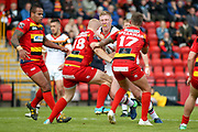 Bradford Bulls prop Liam Kirk (8) tries to get through the defence during the Kingstone Press Championship match between Dewsbury Rams and Bradford Bulls at the Tetley's Stadium, Dewsbury, United Kingdom on 10 September 2017. Photo by Simon Davies.