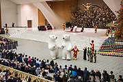 Members of Golden Circus of Liana Orfei perform during the weekly general audience of Pope Francis in Paul VI HAll - Vatican on December 27, 2017.