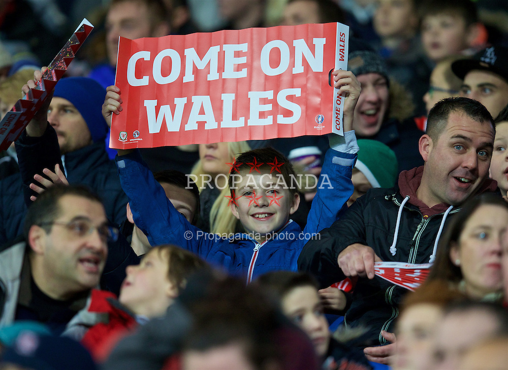 CARDIFF, WALES - Friday, November 13, 2015: Wales supporters during the International Friendly match against the Netherlands at the Cardiff City Stadium. (Pic by David Rawcliffe/Propaganda)