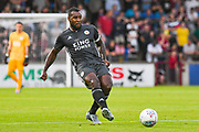 Wes Morgan of Leicester City (5) passes the ball during the Pre-Season Friendly match between Scunthorpe United and Leicester City at Glanford Park, Scunthorpe, England on 16 July 2019.