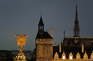 France. Paris. 1st district.  Elevated view on place du chatelet. the golden angel on the column of Place du Chatelet, The conciergerie bell tower/ La place du chatelet et la conciergeir vue d'en haut