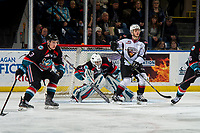KELOWNA, CANADA - NOVEMBER 28: Roman Basran #30 of the Kelowna Rockets defends the net during second period against the Vancouver Giants on November 28, 2018 at Prospera Place in Kelowna, British Columbia, Canada.  (Photo by Marissa Baecker/Shoot the Breeze)