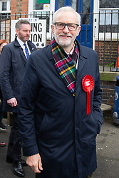© Licensed to London News Pictures. 12/12/2019. London, UK. Labour Party Leader Jeremy Corbyn departs Pakemen School after casting his vote . Photo credit: George Cracknell Wright/LNP