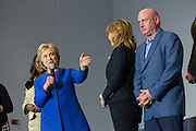 Democratic presidential candidate Hillary Rodham Clinton thanks former Congresswoman Gabrielle Giffords and her husband Captain Mark Kelly during the Breaking Down Barriers Forum on gun violence at Central Baptist Church February 23, 2016 in Columbia, South Carolina. The event was attended by mothers who lost their children to gun violence and police incidents.