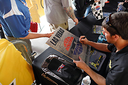 March 1, 2019 - Las Vegas, NV, U.S. - LAS VEGAS, NV - MARCH 01: NASCAR Gander Outdoors Truck Series drivers sign autographs in the Neon Garage prior to practice and qualifying for the NASCAR Gander Outdoors Truck Series on March 1, 2019, at Las Vegas Motor Speedway in Las Vegas, NV. (Photo by Joe Buglewicz/Icon Sportswire) (Credit Image: © Joe Buglewicz/Icon SMI via ZUMA Press)