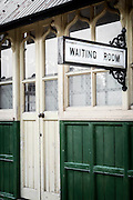 a waiting room in an old train station
