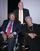 Ernest Gaines,  Leah Chase, and Walter Isaacson at the Louisiana Endowment for the Humanities Bright Lights Awards Dinner at Popp Fountain in City Park of New Orleans on May 10, 2018
