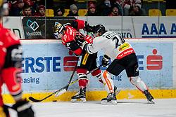 08.01.2017, Ice Rink, Znojmo, CZE, EBEL, HC Orli Znojmo vs Dornbirner Eishockey Club, 41. Runde, im Bild v.l. David Bartos (HC Orli Znojmo) Michael Caruso (Dornbirner) // during the Erste Bank Icehockey League 41th round match between HC Orli Znojmo and Dornbirner Eishockey Club at the Ice Rink in Znojmo, Czech Republic on 2017/01/08. EXPA Pictures © 2017, PhotoCredit: EXPA/ Rostislav Pfeffer