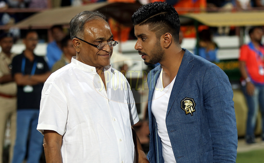 Niranjan Shah BCCI Official and Keshav Bansal owner of Gujatar Lions during match 20 of the Vivo 2017 Indian Premier League between the Gujarat Lions and the Royal Challengers Bangalore  held at the Saurashtra Cricket Association Stadium in Rajkot, India on the 18th April 2017<br /> <br /> Photo by Sandeep Shetty - Sportzpics - IPL