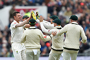 Wicket - Josh Hazlewood of Australia celebrates taking the wicket of Craig Overton of England during the International Test Match 2019, fourth test, day three match between England and Australia at Old Trafford, Manchester, England on 6 September 2019.