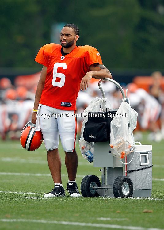Cleveland Browns quarterback Seneca Wallace (6) leans on a water cooler during NFL football training camp at the Cleveland Browns Training Complex on Monday, August 9, 2010 in Berea, Ohio. (©Paul Anthony Spinelli)