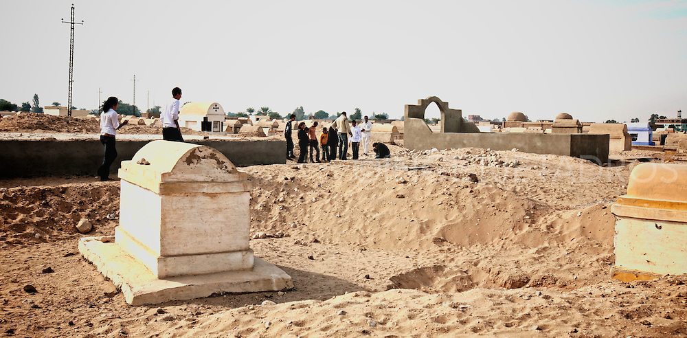 Coptic Orthodox graveyard. These markingstones are scattered around the outskirts of the small village Der Abu El Ajaib, Nag Hamadi, Egypt.