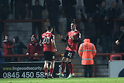 Morecambe Striker Cole Stockton celebrates scoring a goal to make it 3-1 Morecambe during the EFL Trophy match between Morecambe and Bradford City at the Globe Arena, Morecambe, England on 9 November 2016. Photo by Pete Burns.