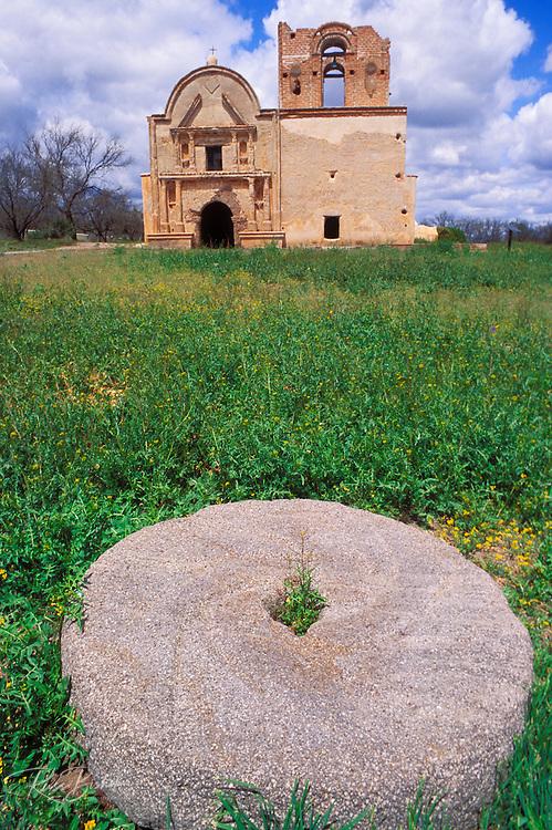 The mission church San Jose de Tumacacori and stone wheel, Tumacacori National Historic Park, Arizona