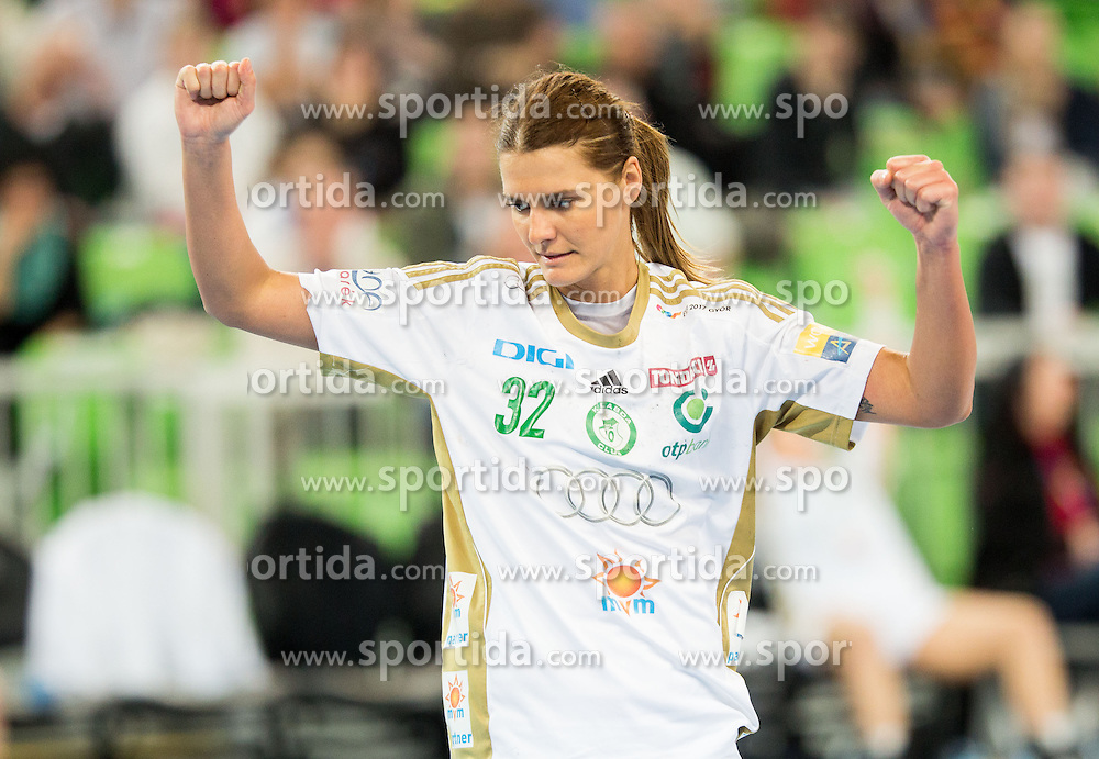 Katarina Bulatovic of Gyori celebrates during handball match between RK Krim Mercator (SLO) and Gyori Audi ETO KC (HUN) in 4th Round of Main Round of  Women's EHF Champions League 2013/14 on March 1, 2014 in Arena Stozice, Ljubljana, Slovenia. Photo by Vid Ponikvar / Sportida