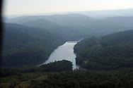 View of Falls Dam  from upstream northwest of Morrow Mountain in the Uwharrie Mountainn Range, Yadkin River, NC
